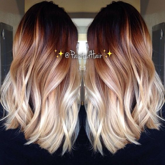 Dark to Light Trio Ombre. Ombre Medium Wavy Hairstyle , Balayage Hair Style