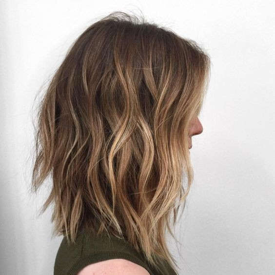 Ombre Wavy Lob Hair Cuts Shoulder Length Hairstyles For Women