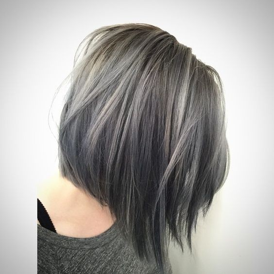 Short Straight Bob Cut - Balayage Hairstyle - Light Blue Denim Silver