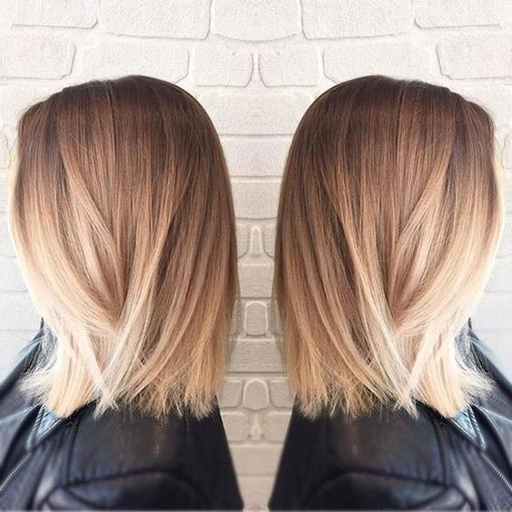Straight Long Bob Haircut Blunt Medium Hairstyles Blonde Ombre