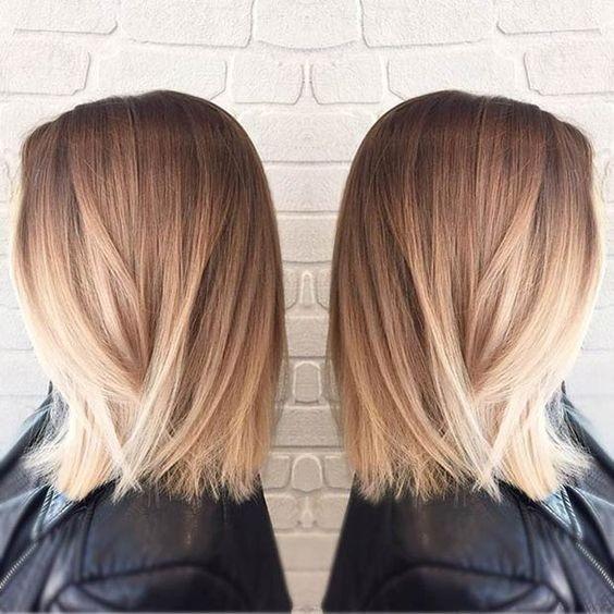 Straight Long Bob Haircut Blunt Medium Hairstyles Blonde Ombre Hair Style Popular Haircuts