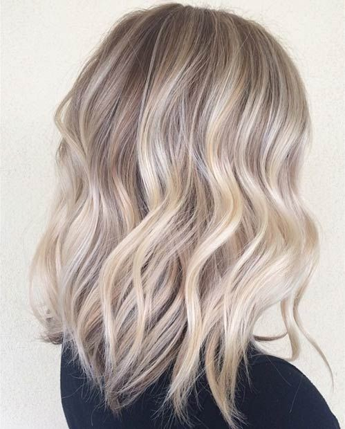 Ash Blayage Wavy Lob - Medium Length Haircuts 2017