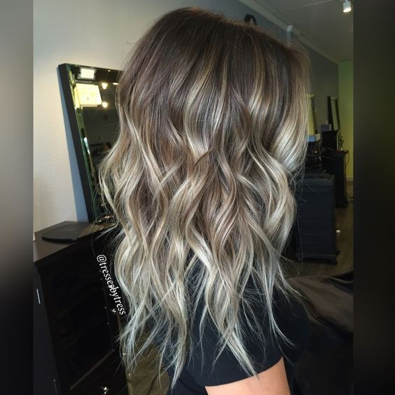 Ash blonde balayage ombre - Layered, Wavy Hairstyles with Long Hair