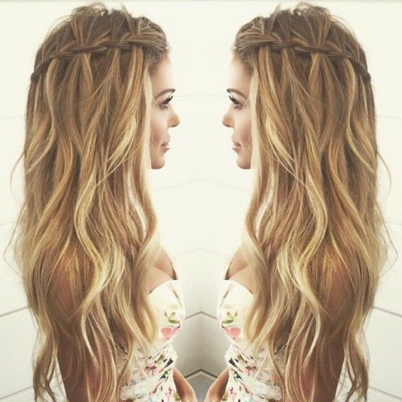 Wavy hair with Waterfall Braid Hairstyles - Casual Summer Hair Styles ...