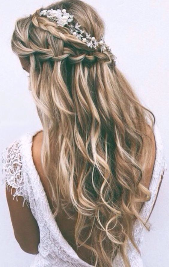 Balayage wavy hair with waterfall braid