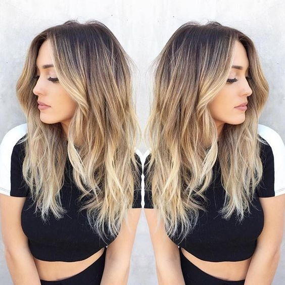 Blonde Balayage Hairstyle - Dark Brown to Blonde