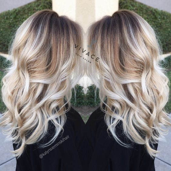 Blonde balayage highlights - Curly Long Hairstyle