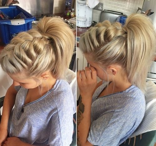 Braid and high ponytail top braid hairstyles, easy braids, kid braids, fashion braid