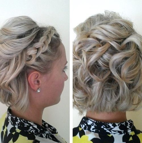 Curly bob with a lace braid - Prom Short Hairstyles 2017