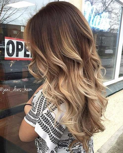 Dark Brown to Blonde Balayage Hairstyle , Hair Color 2016 , 2017