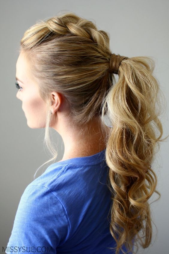 Dutch Braid Mohawk Ponytail Hairstyle - Ponytails with Loose Braid