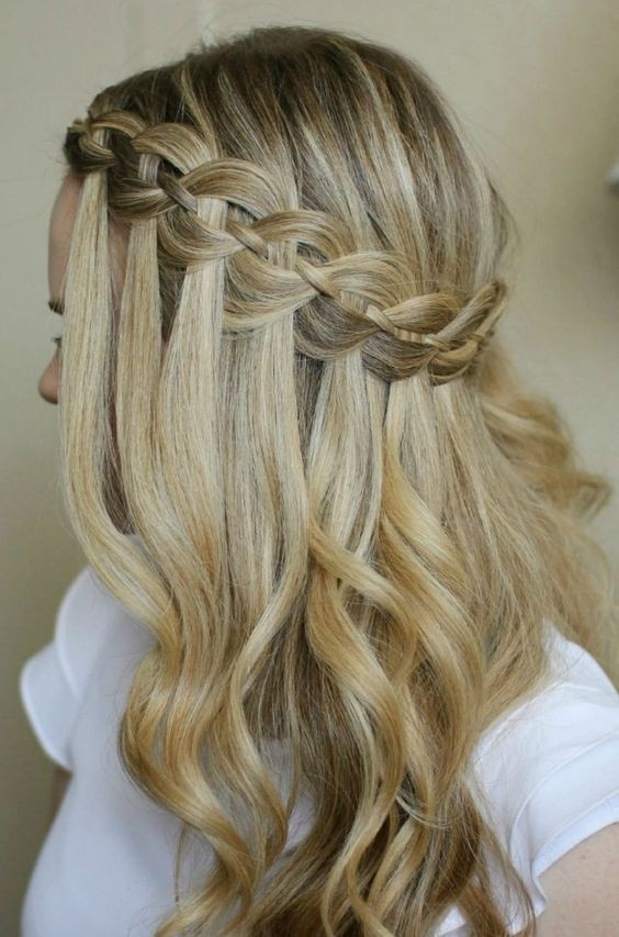 Glamorous Waterfall Braid Hairstyles