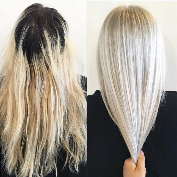 Medium-Straight-Haircut-Hair-Color-Ideas-with-Platinum-Blonde-Hair Auburn Color