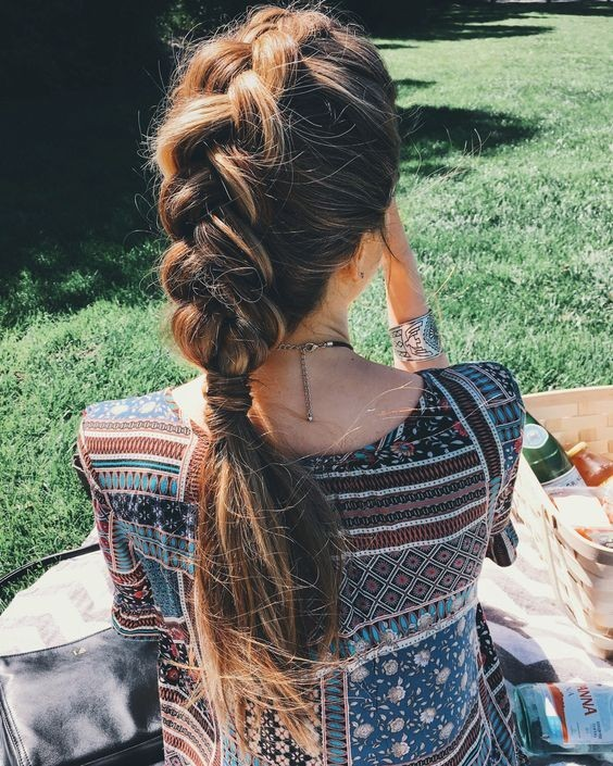 Messy Dutch Braid Ponytail Hairstyle