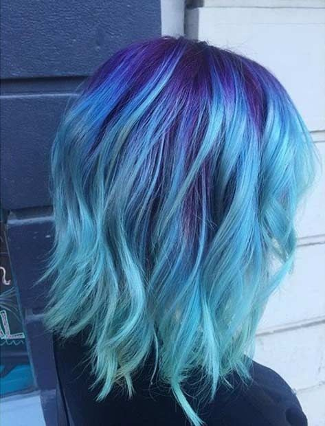 Amazing Blue and Purple Hair Looks - Shoulder Length Hairstyle 2017