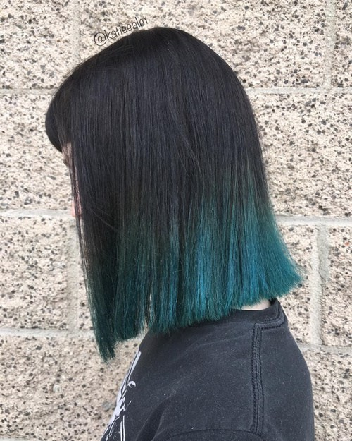 Black with Blue Dip Dye Hair - Straight Lob Hair Styles for Thick Hair