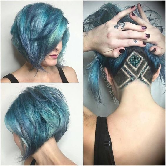 Blue Ombre, Balayage Hairstyle - Stylish Short Bob Haircut 2017