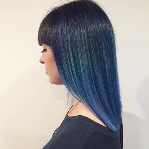Blue Ombre, Balayage Hairstyle with Shoulder Length Hair - Straight Lob Hair Styles 2017