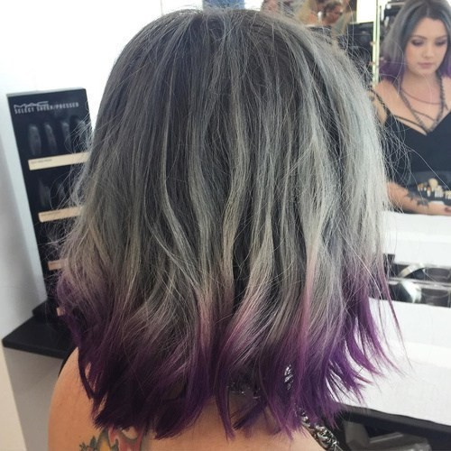 Greyed and Purple - Grey Balayage and Purple Dip Dye