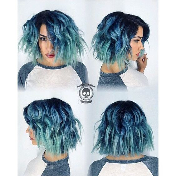 Grunge layered wavy bob haircut with blue hair color melting to mint green hair color