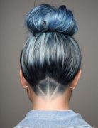 Hair Undercut with Bun Updos - Stylish Blue Hair Color Designs 2017