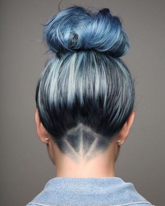 Hair Undercut with Bun Updos - Stylish Blue Hair Color Designs 2017