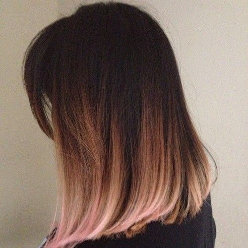 Light Brown, Blonde Ombré - Pink Dip Dye Hair