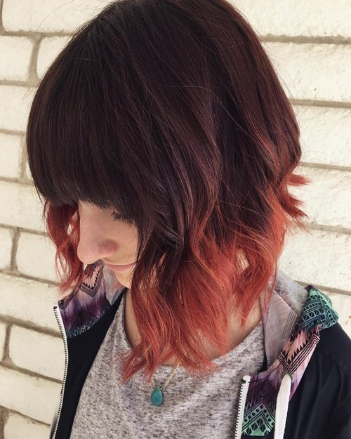 Rocking Red and Orange Tones - Dip Dye Curly Bob