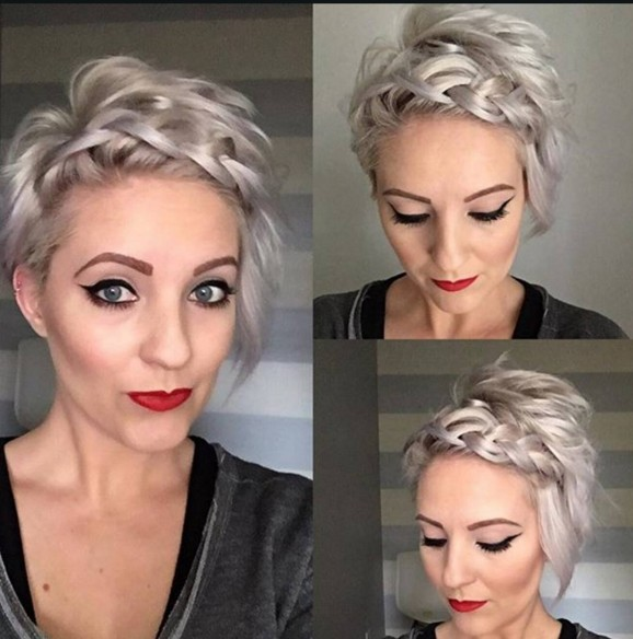 Short Hairstyles with Braid Bangs - Stylish Hair Color Designs for Women Short Hair 2017