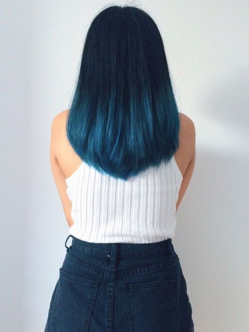 V Haircut for Straight Hair - Blue Ombre Hair Styles