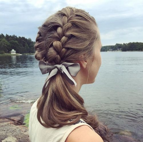 Image result for ribbons end of french braid
