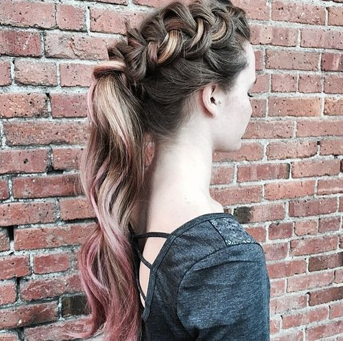 French Braided Ponytail for Highlighted Hair