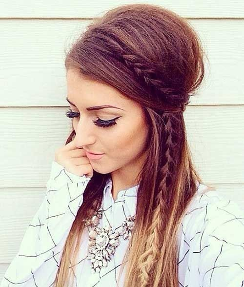Braids And Volume Ombre Long Hairstyle With Straight Hair