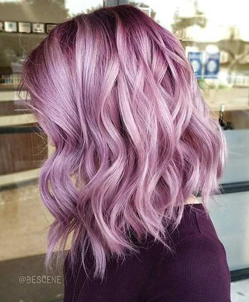 pastel-purple-wavy-lob-hairstyle-pastel-hair-color-ideas-2017