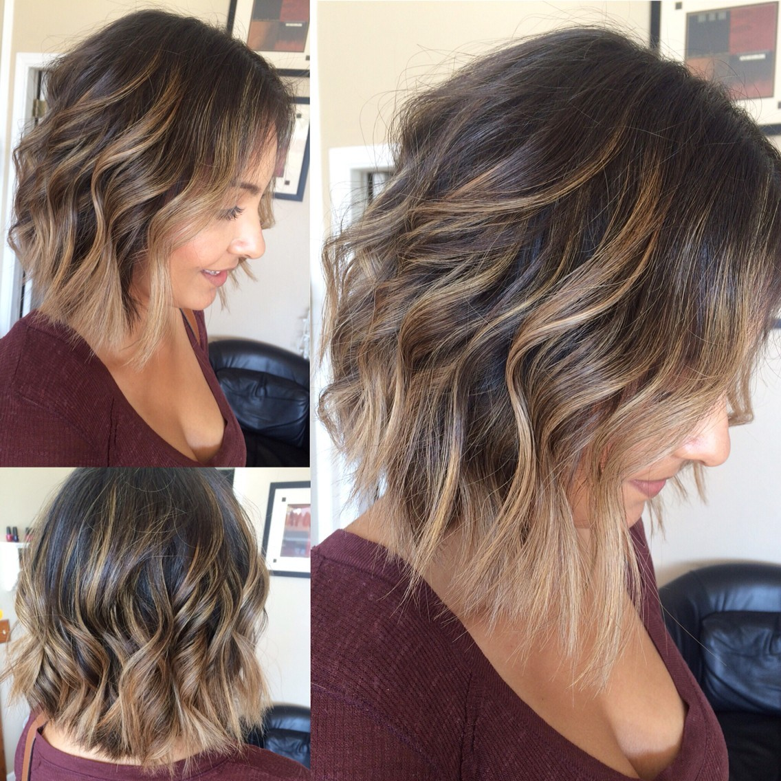 pretty-curly-lob-haircuts--balayage-highlights