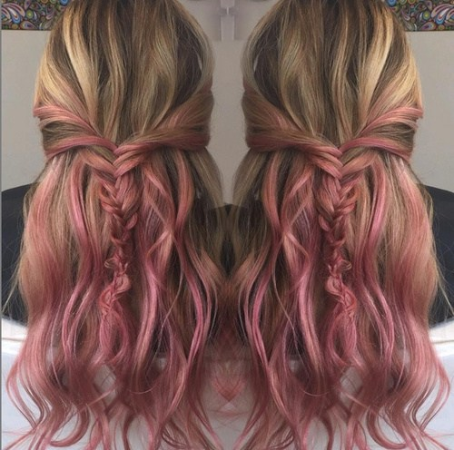 Ash Brown and Pink Hair