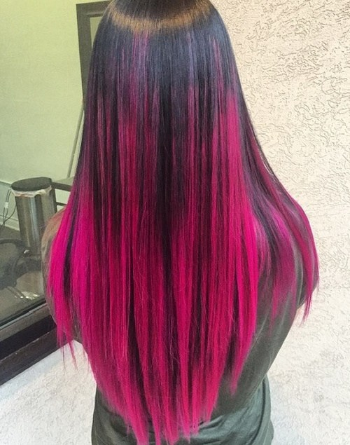 Black and Pink Straight Hair
