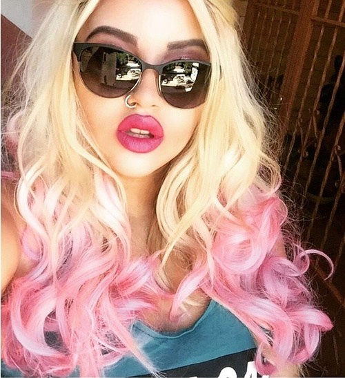 Blonde and Pink Hairstyle with Center Part