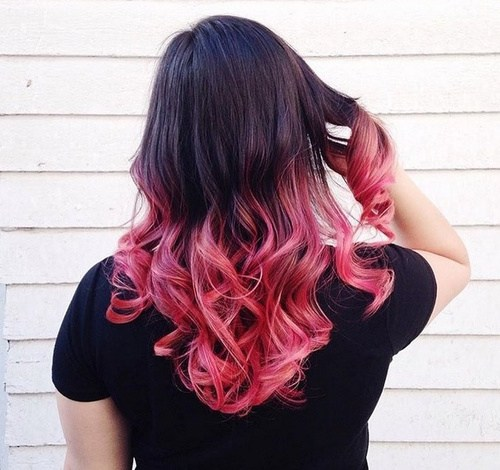 Curly Black and Pink Hair