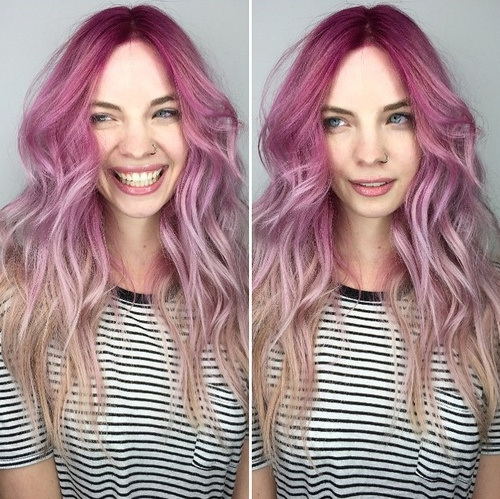 Pink Ombre Curls with Central Parting