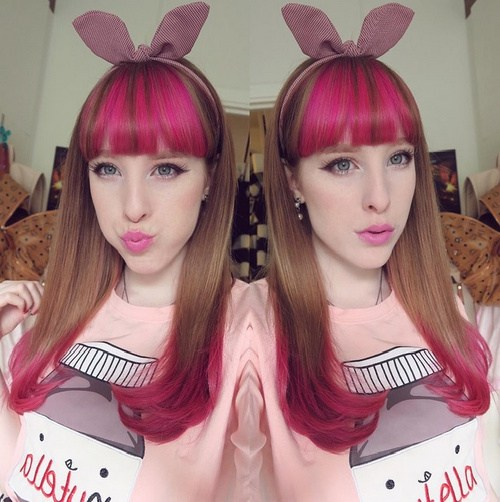 Hot Pink Bangs And Tips Brown Hairstyle