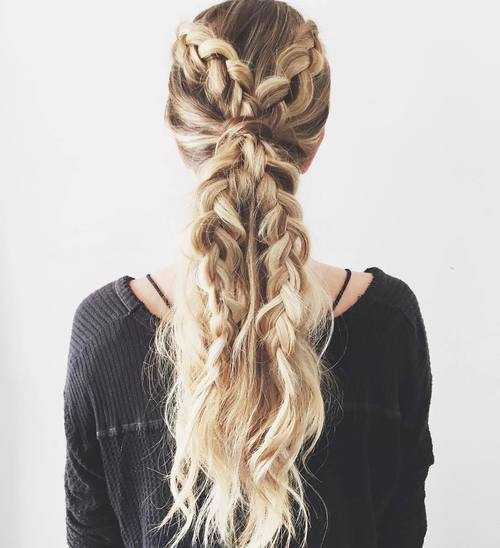 Ponytail with Double Braids