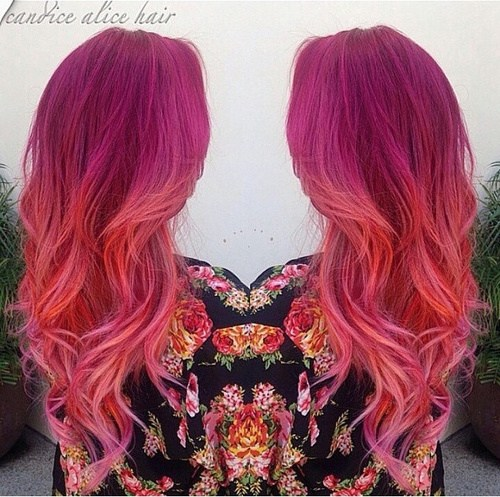 Red and Pink Curls