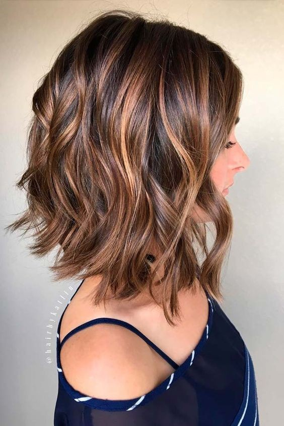 Balayage, Curly Lob Hairstyles - Shoulder Length Hair Cuts for Women ...