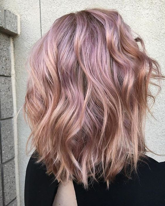 Balayage Wavy Lob Hair Cuts - Metallic Rose Gold Hair Color