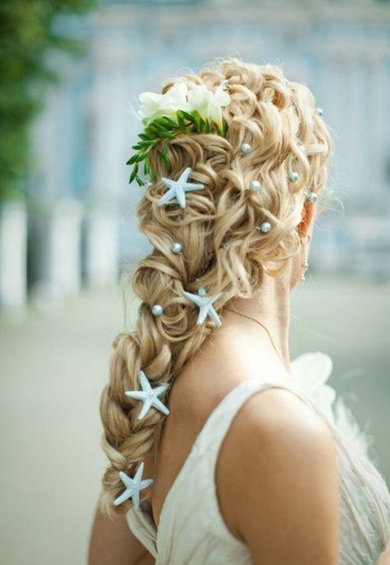 Beach Theme Wedding - Wedding Braid with Blue Starfish Decorations and Pearls