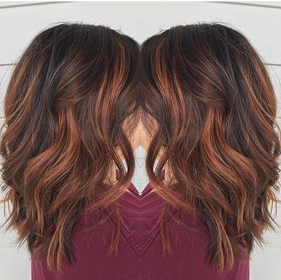 Blunt, Medium Wavy Hairstyles for Thick Hair - Red Brown Balayage