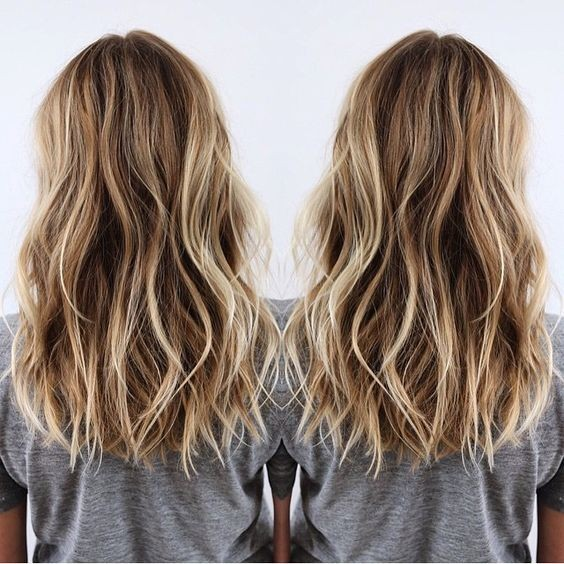 Layered Medium Hairstyles - Brown and Blonde Balayage