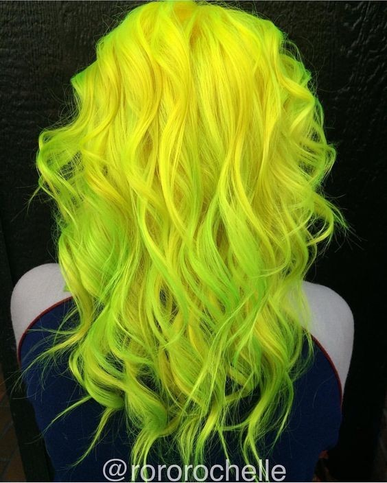 Messy, Curly Hairstyles for Medium Hair - Neon yellow hair and neon green hair color