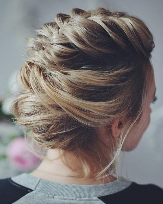 Modern Wedding Updos with Braids - Loose Updo Hairstyle for Wedding